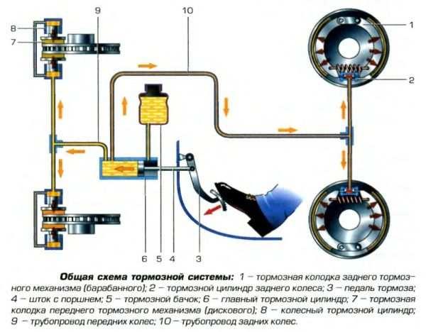 схема тормозной системы автомобиля