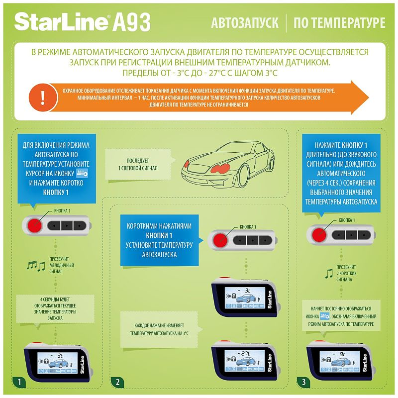 автозапуск Старлайн А93 по температуре