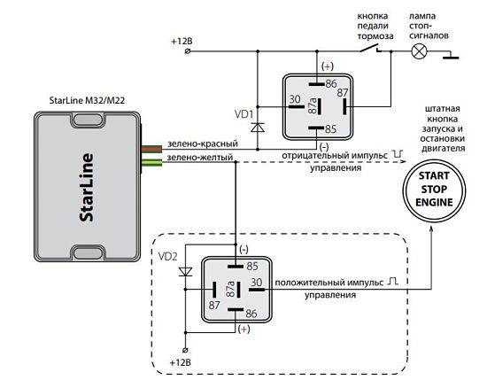 схема установки с кнопкой старт