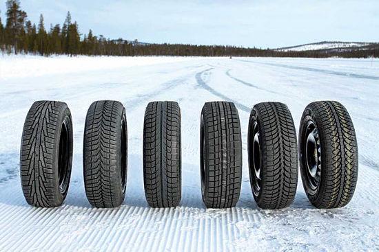разные модели зимних шин на снегу