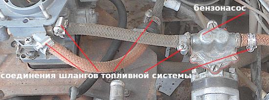 соединение шлангов через которые вытекает бензин