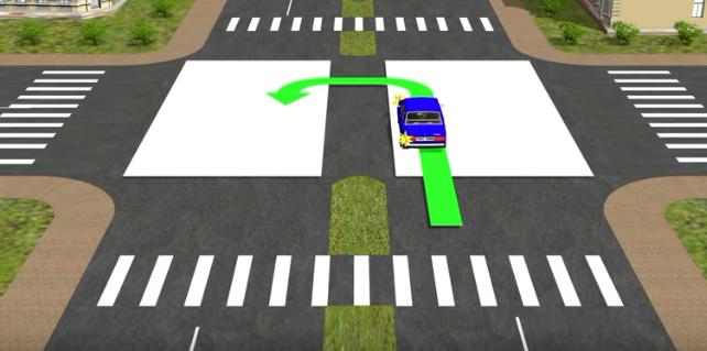 разворот на перекрестке с двумя пересечениями проезжих частей