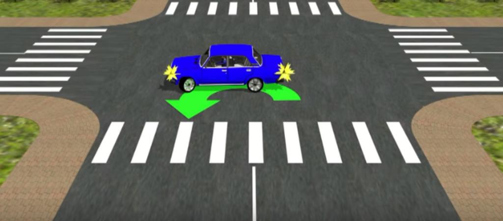 Правила разворота на перекрёстке