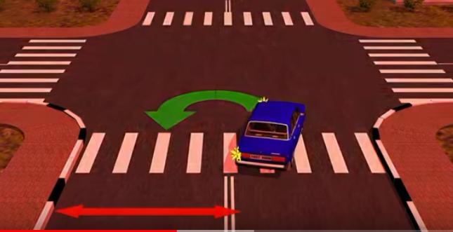 разворот для синего авто на перекрестке запрещен