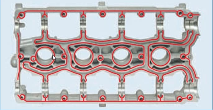 места нанесения герметика на клапанную крышку