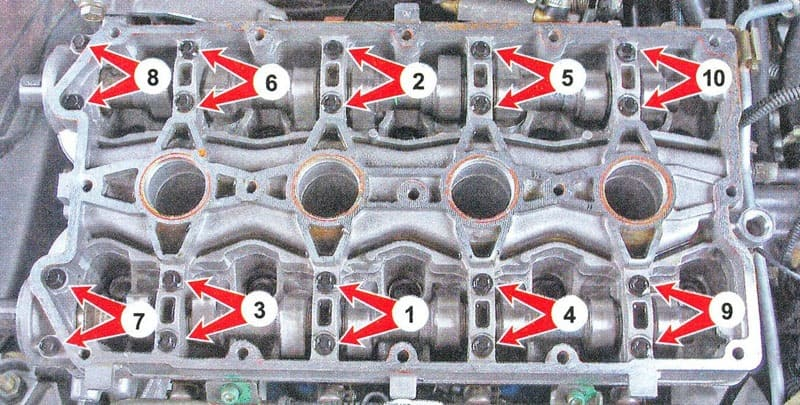 схема правильной затяжки болтов крышки клапанов